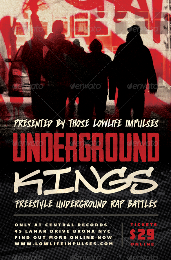Underground Kings - Hip-Hop Flyer Template - Concerts Events