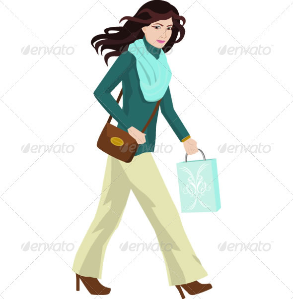 Woman Shopping Illustration - People Characters