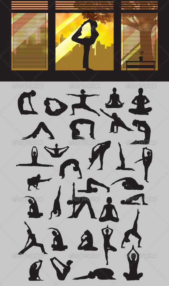 Yoga Silhouettes - Sports/Activity Conceptual