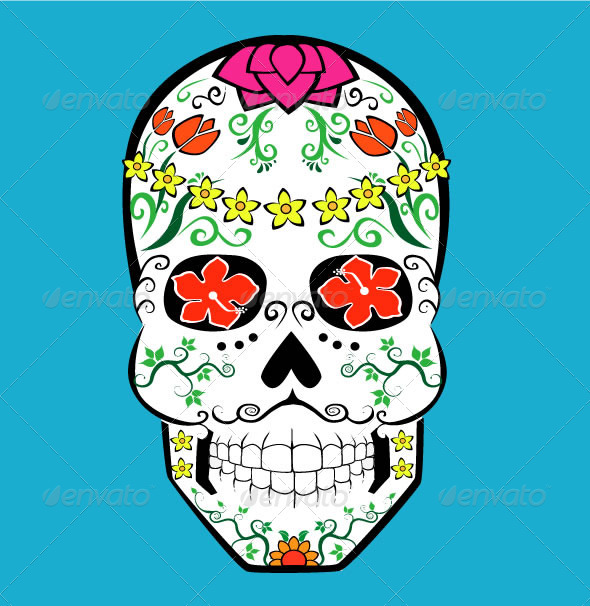 Flower Skull - Tattoos Vectors