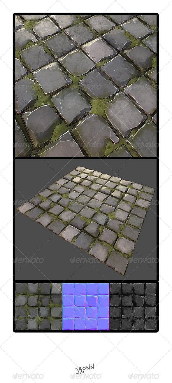 Grassy Stone Road Tile 01 - 3DOcean Item for Sale