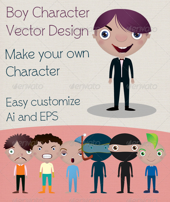 Boy Character Vector Design - Characters Vectors