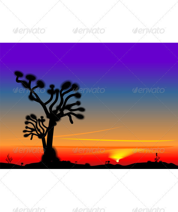 Vector beautiful bright sunset in the desert - Landscapes Nature