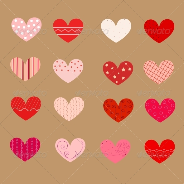 Decorated Hearts, Patterns, Seamless - Valentines Seasons/Holidays