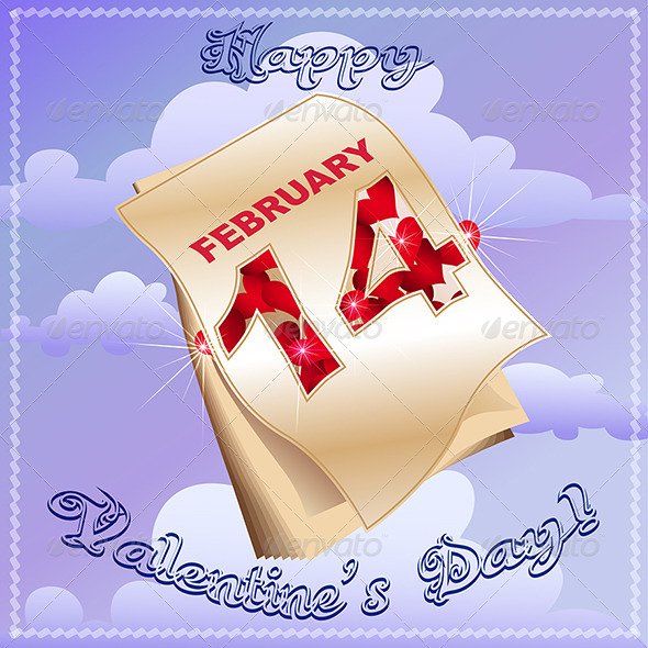 Greeting Card with Calendar - Valentines Seasons/Holidays