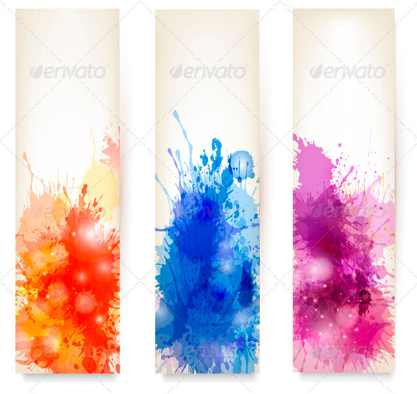 Collection of Colorful Abstract Watercolor Banners - Borders Decorative