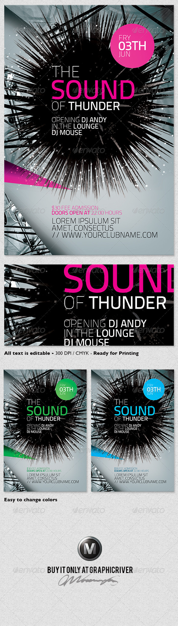 Futuristic Flyer Template Vol.01 - Clubs & Parties Events