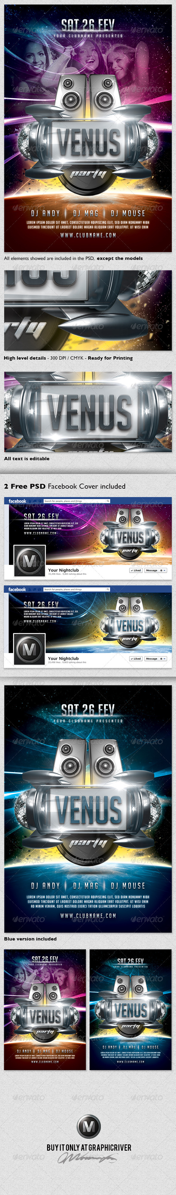 Venus Party Flyer Template + Facebook Timeline - Events Flyers
