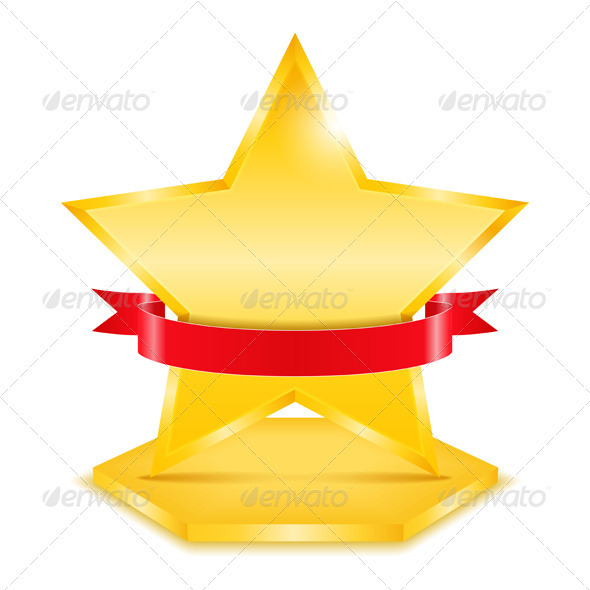 Golden Star with Ribbon - Web Elements Vectors