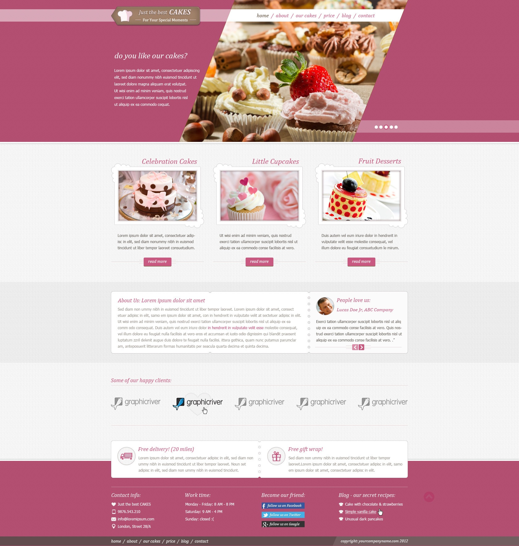 justcakes cake bakery html template by templatation themeforest. Black Bedroom Furniture Sets. Home Design Ideas