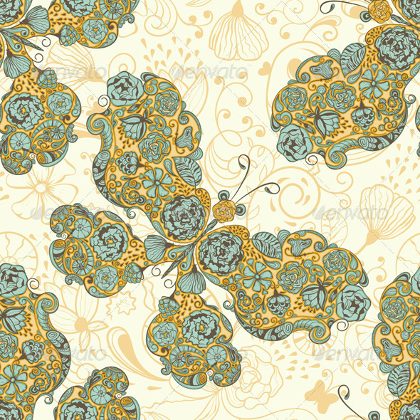 Vector Seamless Spring Pattern with  Butterflies - Patterns Decorative