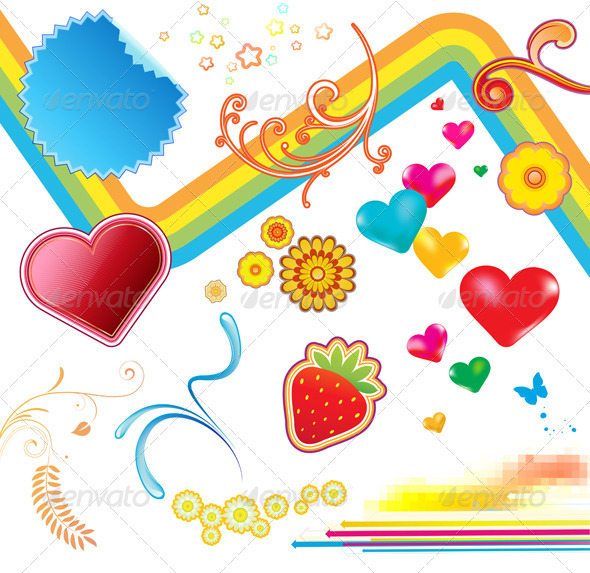 funky summer design elements - Decorative Symbols Decorative