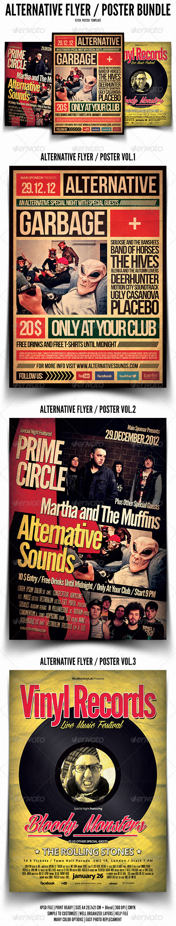 Alternative Flyer / Poster Bundle - Events Flyers
