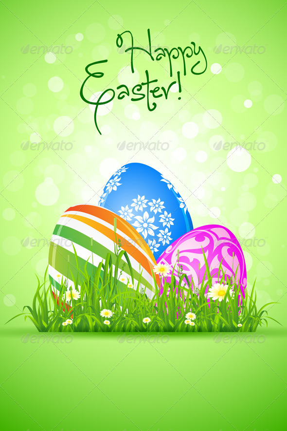 Easter Eggs in the Grass - Seasons/Holidays Conceptual