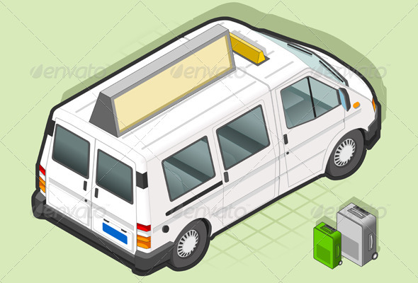 Isometric White Taxi Van with Some Bags - Miscellaneous Vectors