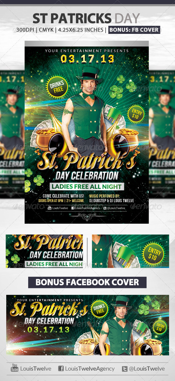 St. Patrick's Day Flyer + Fb Cover - Clubs & Parties Events