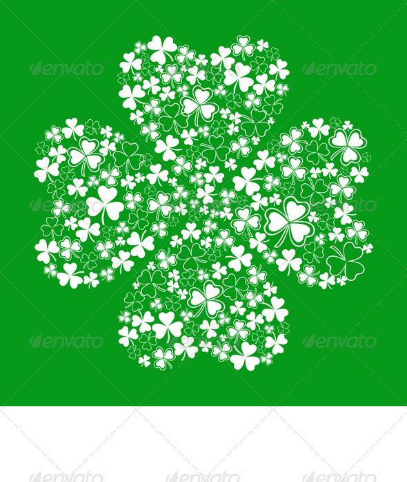 Vector Green Greeting Card with Clover Shamrock  - Seasons/Holidays Conceptual