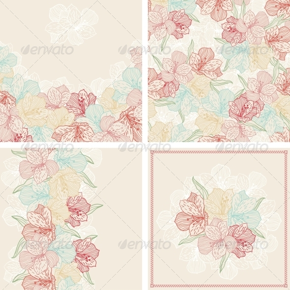 Set of Vintage Flower Patterns and Backgrounds. - Flowers & Plants Nature
