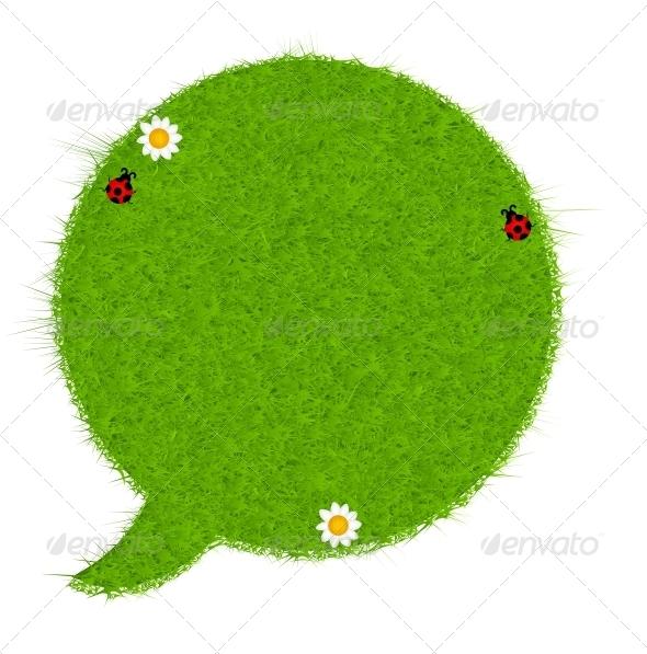 Fresh Green Grass Speech Bubble - Miscellaneous Conceptual