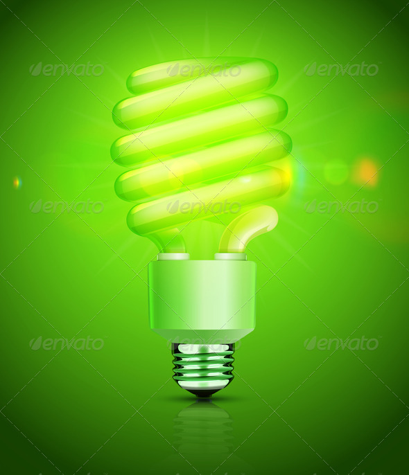 Energy Saving Fluorescent Lightbulb - Technology Conceptual