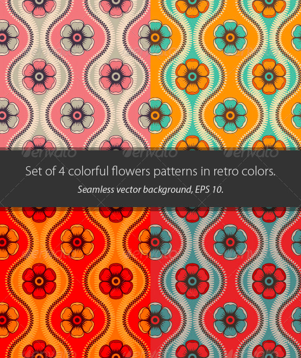 Fashion Pattern with Flowers in Retro Color - Patterns Decorative