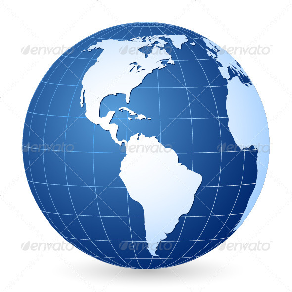 Blue World Globe - Objects Vectors