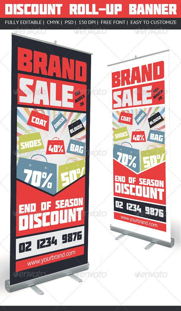 Discount Roll-Up Banner - Signage Print Templates
