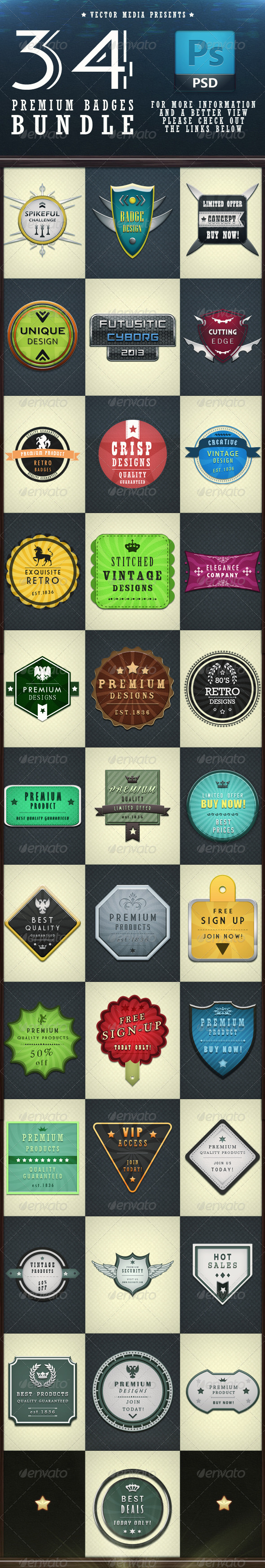 34 Premium Badges - Bundle - Badges & Stickers Web Elements