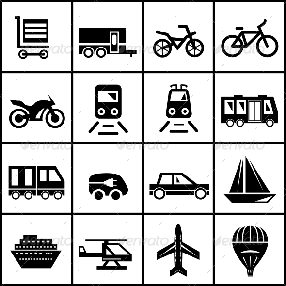 Vector Transportation Icons Isolated on White - Travel Conceptual