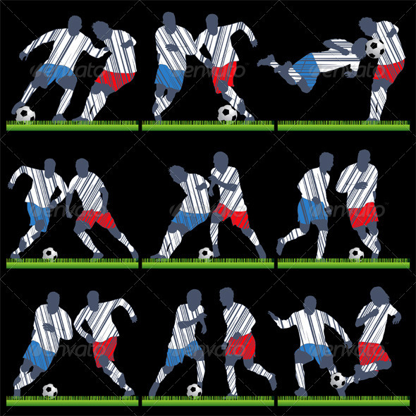 Vector Football Players with Ball and Grass - Sports/Activity Conceptual