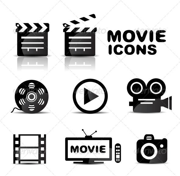 Movie black glossy icon set - Web Elements Vectors