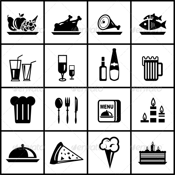 Vector Restaurant Food Black Icon Set - Web Elements Vectors