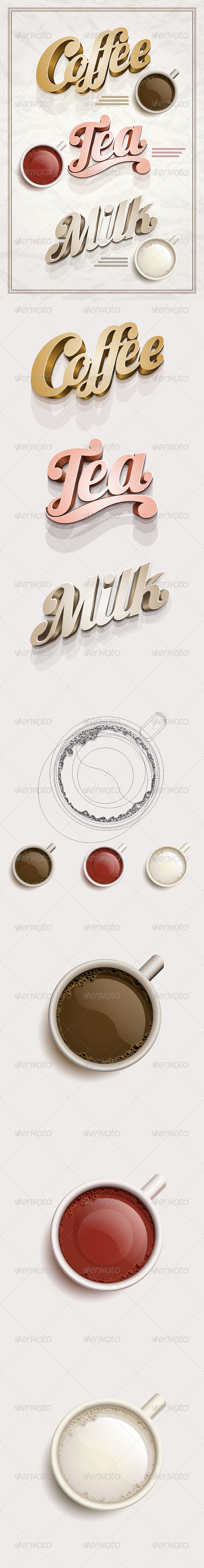 Coffee, Tea and Milk Design Template - Objects Vectors