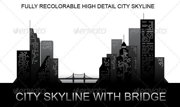 City Skyline with Bridge - Buildings Objects