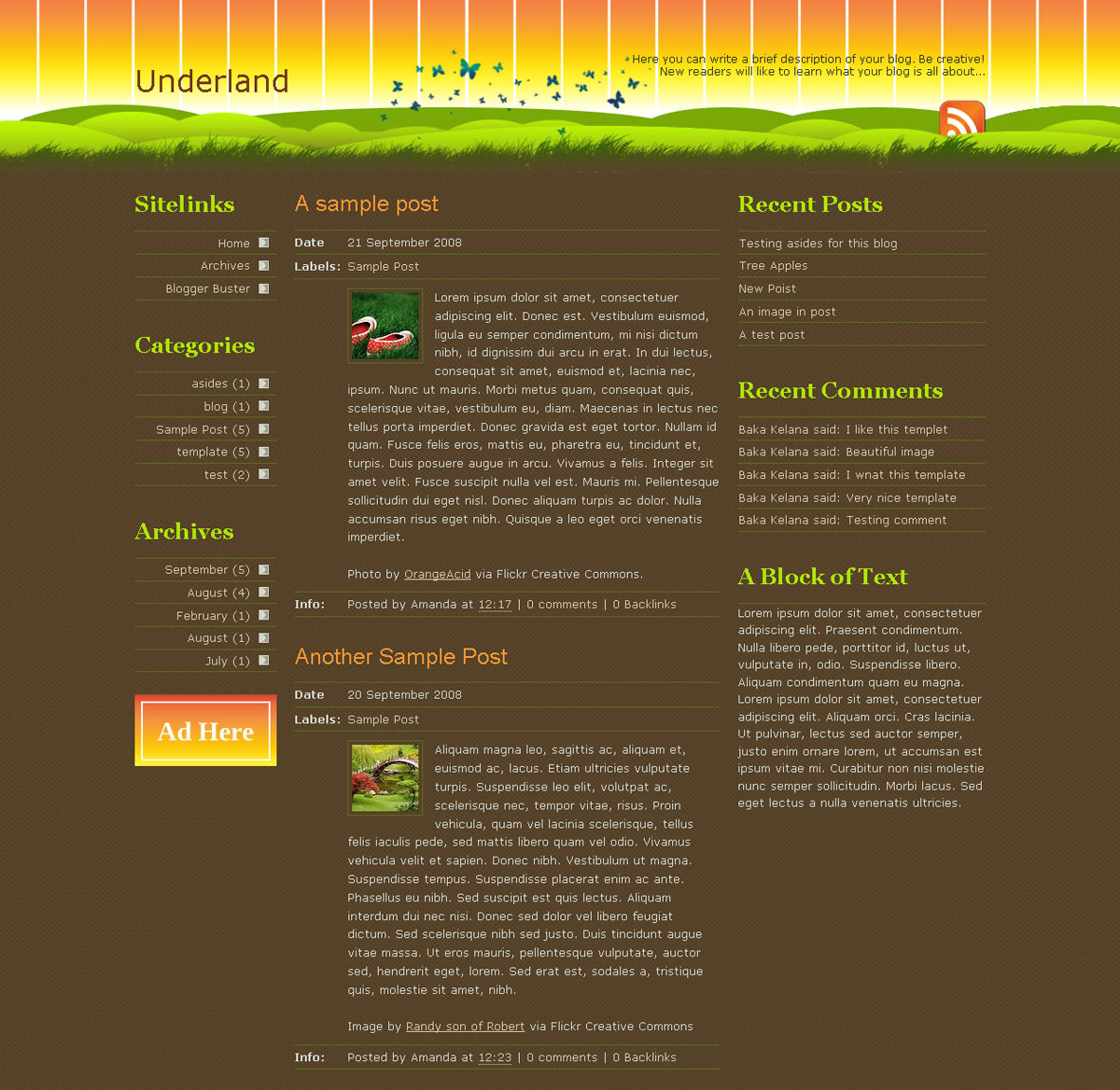 Underland Template for Blogger - This is a short screenshot to demonstrate the overall appearance of the home page.