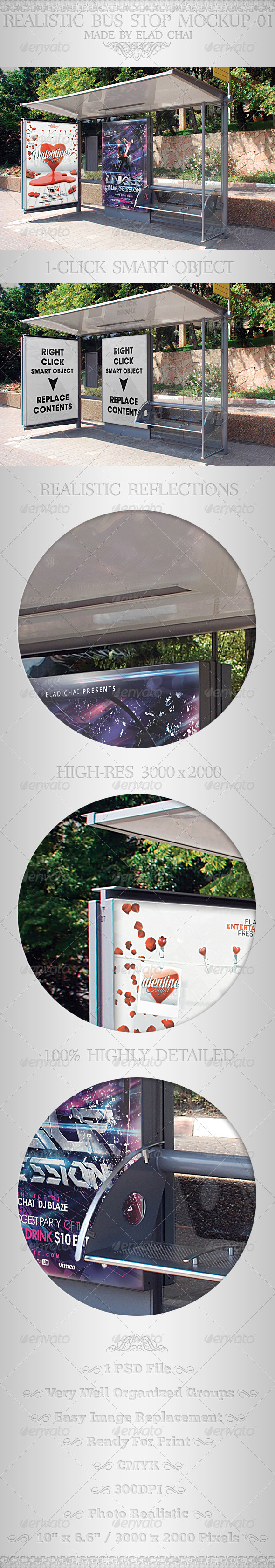 Realistic Bus Stop Flyer Poster Mockup 01 - Signage Print