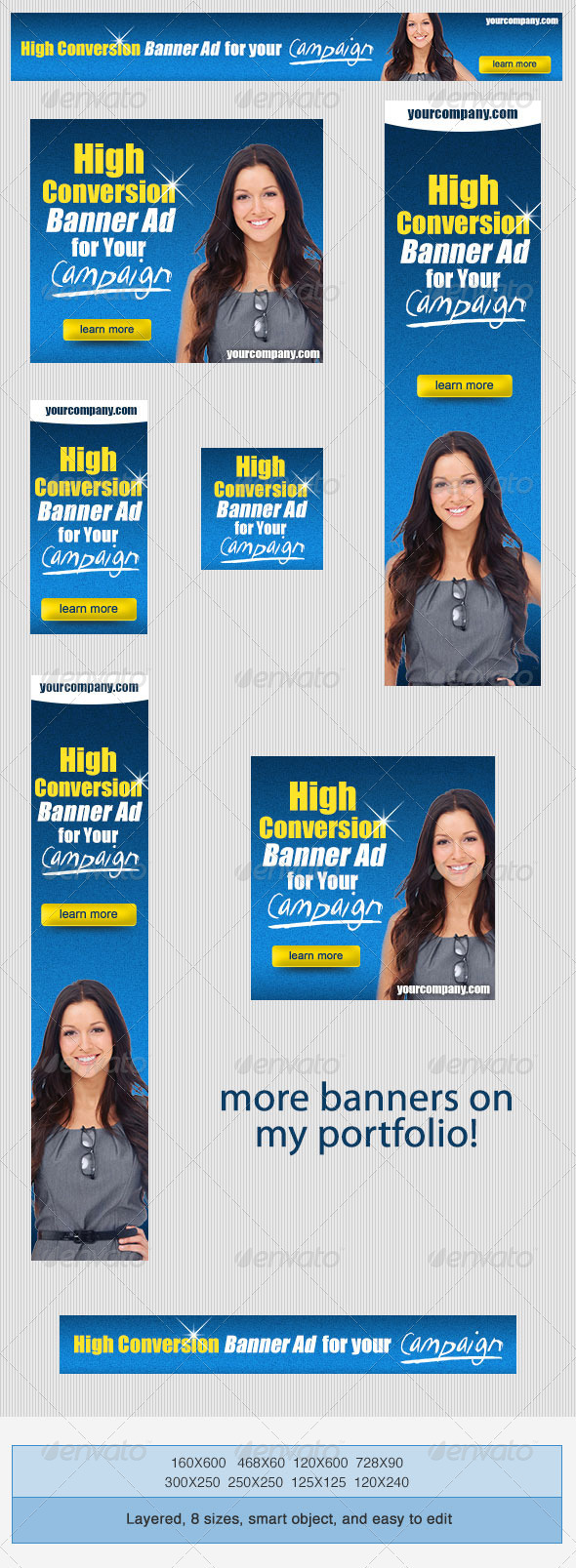 High Conversion Banner Ad PSD Template - Banners & Ads Web Elements