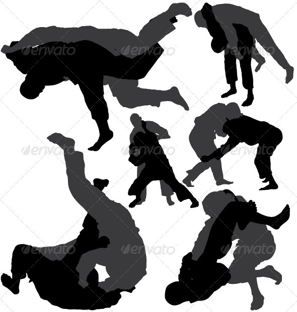 Jiu-jitsu and judo wrestlers vector silhouettes - People Characters