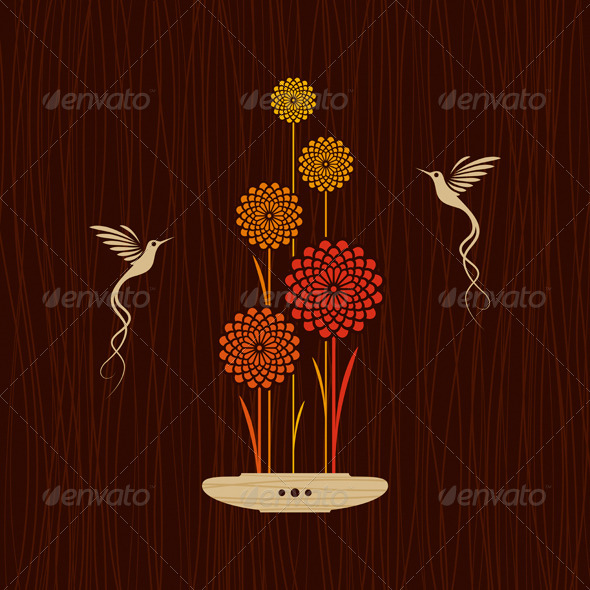 Card With Birds And Flowers - Decorative Symbols Decorative