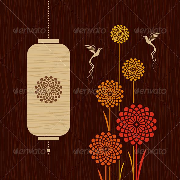 Card With Birds, Flowers And Lantern - Decorative Symbols Decorative