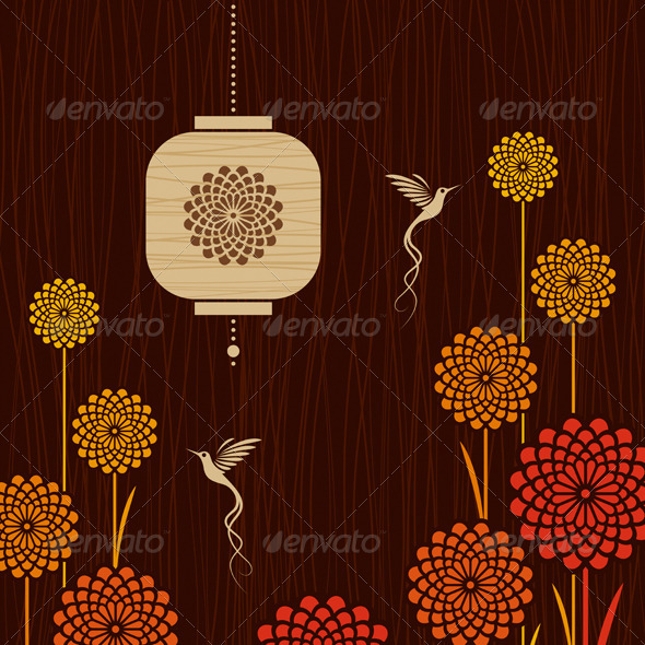 Card With Birds, Flowers And Lantern - Decorative Symbols Decorative