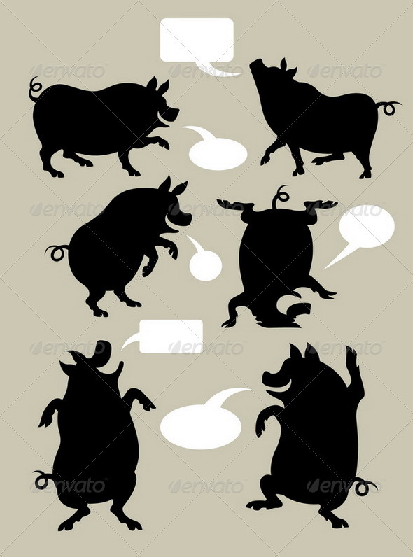 Pig Dancing Silhouettes Set - Animals Characters