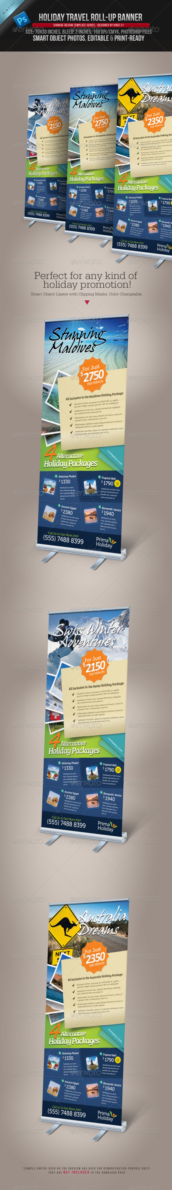 Holiday Travel Roll-up Banner - Signage Print Templates