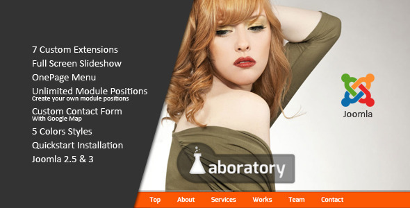 Laboratory :: One Page Creative Joomla Template
