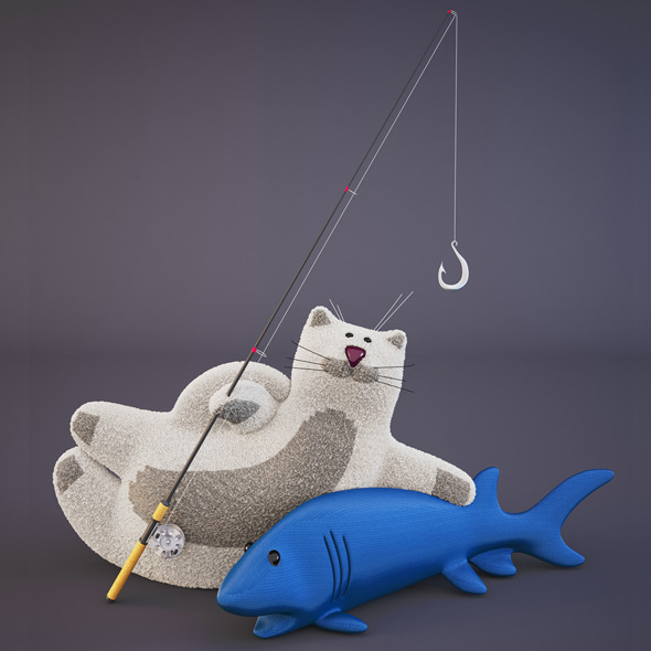 Cat and Fish Toys - 3DOcean Item for Sale