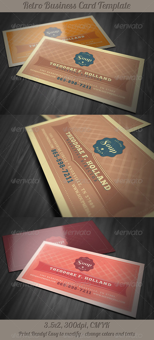 Retro Business Card Template - Retro/Vintage Business Cards