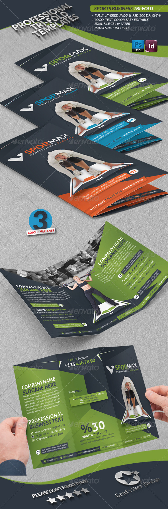 Sports Business Tri-fold - Brochures Print Templates