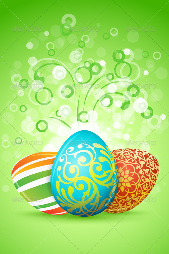 Easter Background with Decorated Eggs - Religion Conceptual