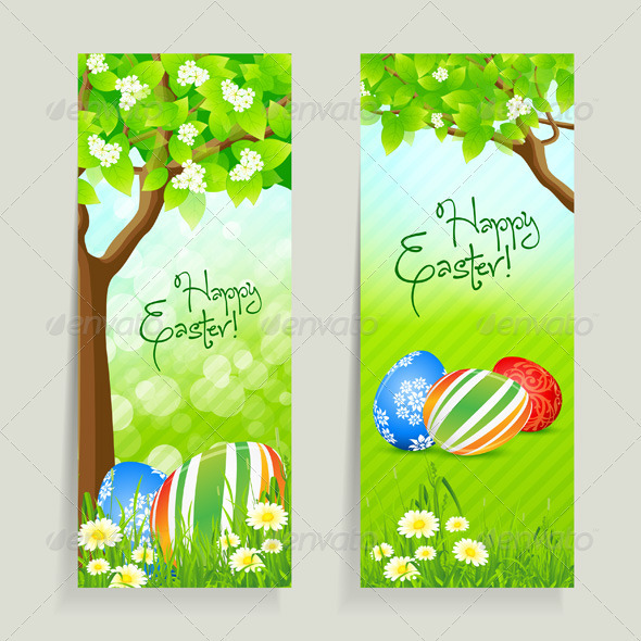 Set of Easter Cards with Grass and Tree - Miscellaneous Seasons/Holidays