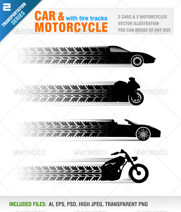 Car and Motorcycle with Tire Track - Sports/Activity Conceptual